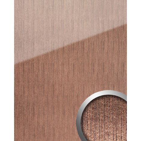 Panel de pared aspecto vidrio WallFace 20217 ALIGNED Rose AR+ liso Revestimiento mural de brillo intenso extra brillante autoadhesivo resistente a la abrasión rosa bronce 2,6 m2