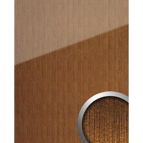 Panel de pared aspecto vidrio WallFace 20218 ALIGNED Gold AR+ liso Revestimiento mural de brillo intenso extra brillante autoadhesivo resistente a la abrasión oro marrón-dorado 2,6 m2