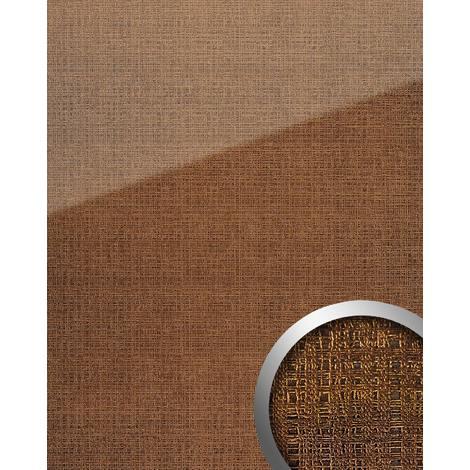 Panel de pared aspecto vidrio WallFace 20221 GRID Gold AR+ liso Revestimiento mural de aspecto textil extra brillante autoadhesivo resistente a la abrasión oro marrón-dorado 2,6 m2