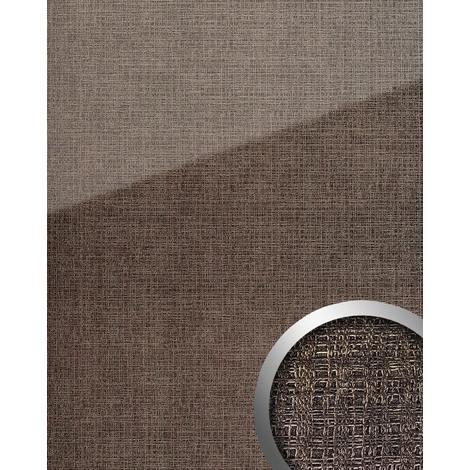 Panel de pared aspecto vidrio WallFace 20222 GRID Silver AR+ liso Revestimiento mural de aspecto textil extra brillante autoadhesivo resistente a la abrasión plata gris-plata 2,6 m2