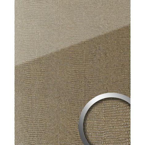 Panel de pared aspecto vidrio WallFace 20276 LEGUAN Silk AR+ Revestimiento mural de lujo aspecto vidrio autoadhesivo resistente a la abrasión marrón claro 2,60 m2