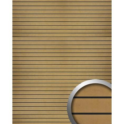 Panel de pared autoadhesivo WallFace 18584 RIGATO aspecto metal bandas transversales color oro bronze junturas negras 2,60 m2