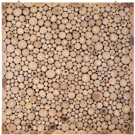 Panel de pared en madera de teca - Decoración mural 82x82 cm - TWIG