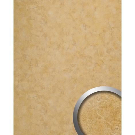 Panel de pared vintage WallFace 19021 CLASSY GOLD Revestimiento mural liso de aspecto metal brillante autoadhesivo oro 2,6 m2