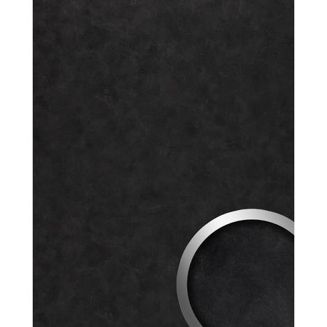 Panel de pared vintage WallFace 19393 CLASSY BLACK Panel decorativo liso de aspecto metal brillante autoadhesivo negro gris-negruzco 2,6 m2
