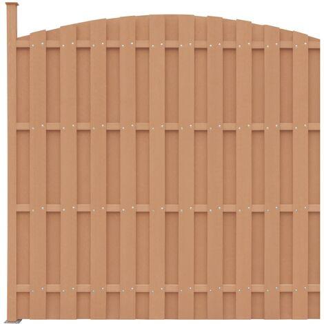 Panel de valla con 1 poste WPC marrón 180x(165-180) cm