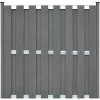 Panel de valla con 2 postes WPC 180x180 cm gris