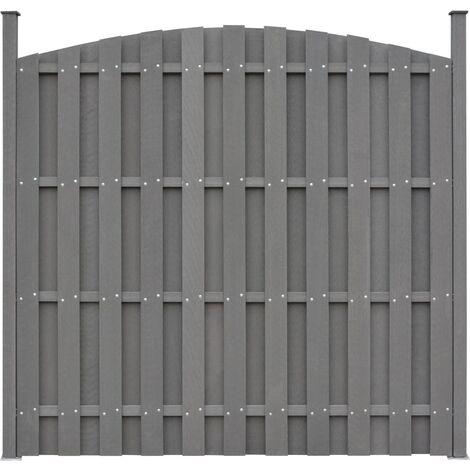 Panel de valla con 2 postes WPC gris 180x(165-180) cm