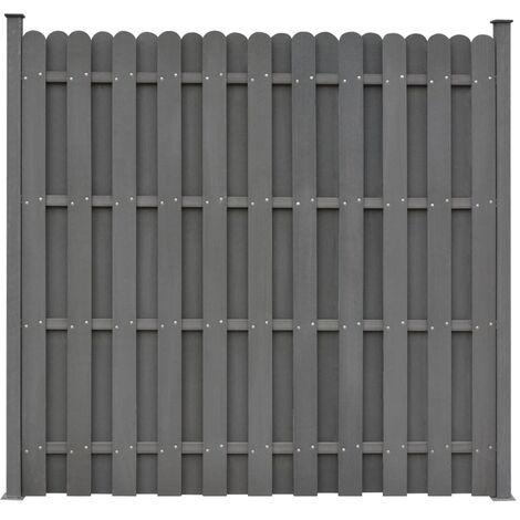 Panel de valla con 2 postes WPC gris 180x180 cm