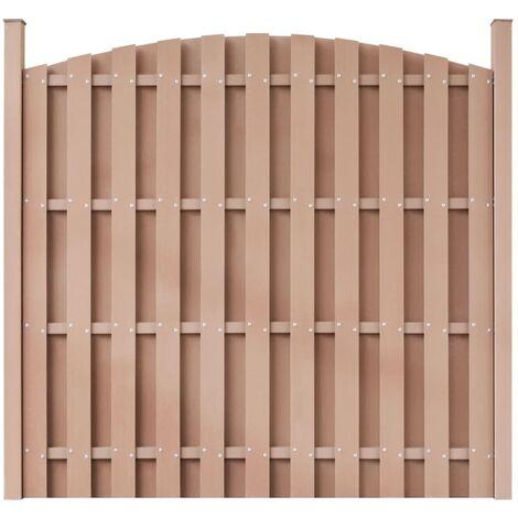 Panel de valla con 2 postes WPC marrón 180x(165-180) cm