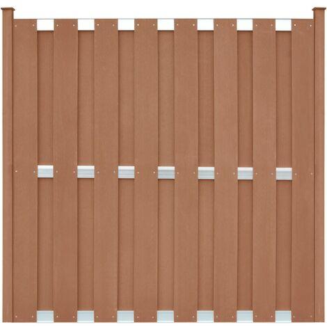 Panel de valla con 2 postes WPC marrón 180x180 cm