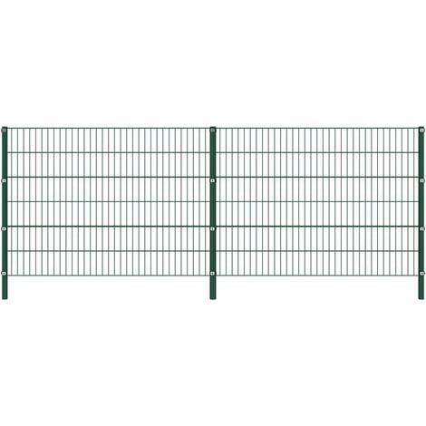 Panel de valla con postes de hierro verde 3,4x1,2 m - Verde