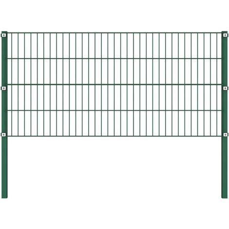 Panel de valla con postes hierro verde 1,7x0,8 m - Verde