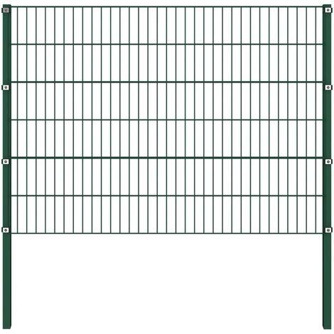 Panel de valla con postes hierro verde 1,7x1,2 m - Verde
