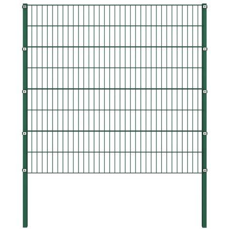 Panel de valla con postes hierro verde 1,7x1,6 m