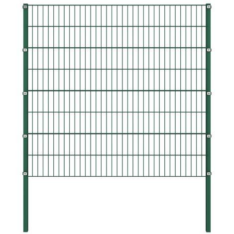 Panel de valla con postes hierro verde 1,7x1,6 m - Verde