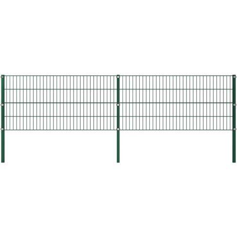 Panel de valla con postes hierro verde 3,4x0,8 m - Verde