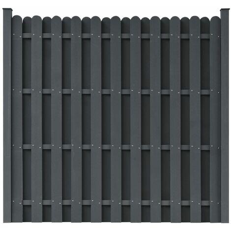 Panel de valla cuadrado con 2 postes WPC gris 180x180 cm