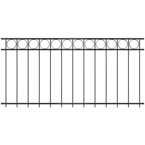Panel de valla de acero 1,96x1 m negro