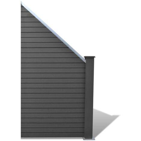 Panel de valla WPC gris 105x(105-185) cm