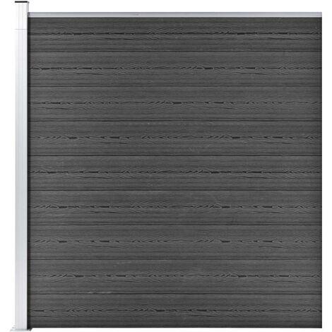 Panel de valla WPC negro 175x186 cm - Negro