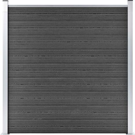 Panel de valla WPC negro 180x186 cm - Negro