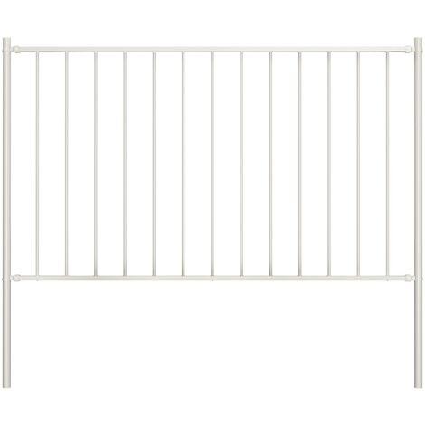 Panel de valla y postes acero recubrimiento polvo blanco 1,7x1m