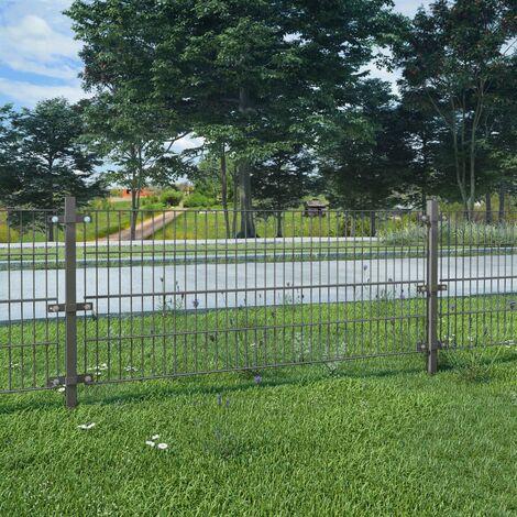 Panel de valla y postes hierro recubrimiento polvo gris 6x0,8 m