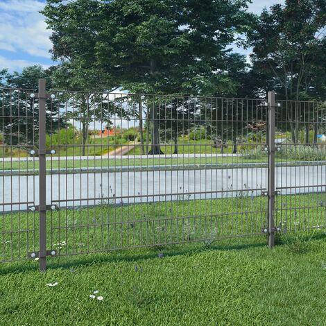 Panel de valla y postes hierro recubrimiento polvo gris 6x1,2 m