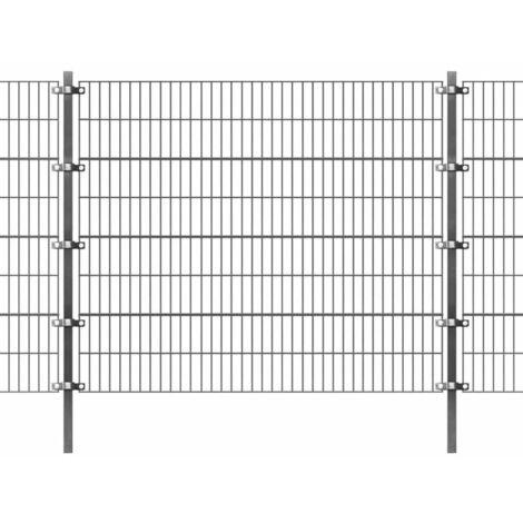 Panel de valla y postes hierro recubrimiento polvo gris 6x1,6 m