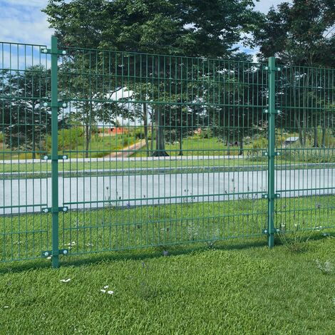 Panel de valla y postes hierro recubrimiento polvo verde 6x1,6m
