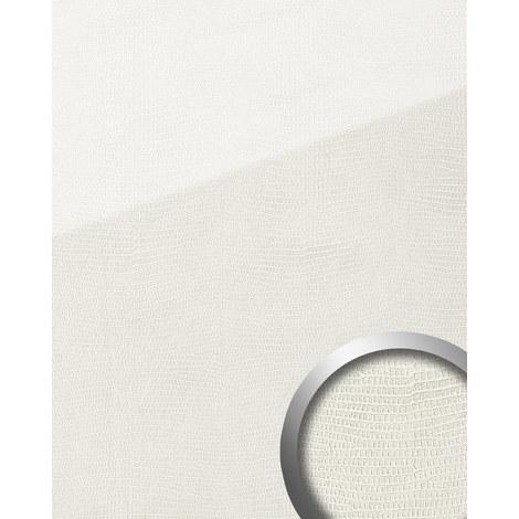 Panel decorativo aspecto de cuero WallFace 19305 LEGUAN Bianco liso Revestimiento mural de aspecto vidrio brillante autoadhesivo resistente a la abrasión blanco 2,6 m2