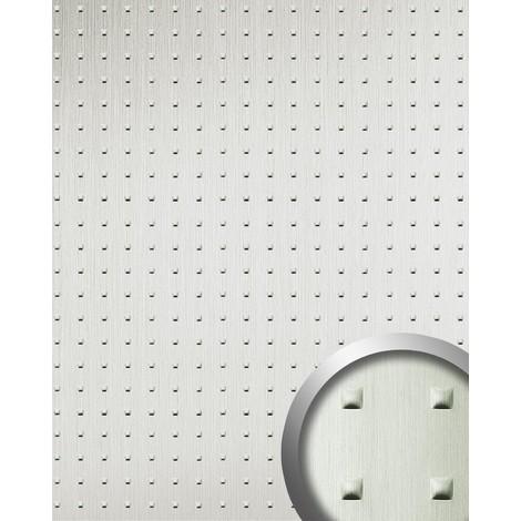 Panel Decorativo autoadhesivo cuadrados convexos efecto metal WallFace 11273 SQUARE acero inoxidable cepillado 2,60 m2