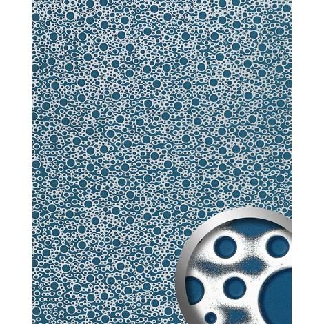Panel decorativo autoadhesivo de diseño burbujas con relieve 3D WallFace 11712 BUBBLE color azul plata 2,60 m2