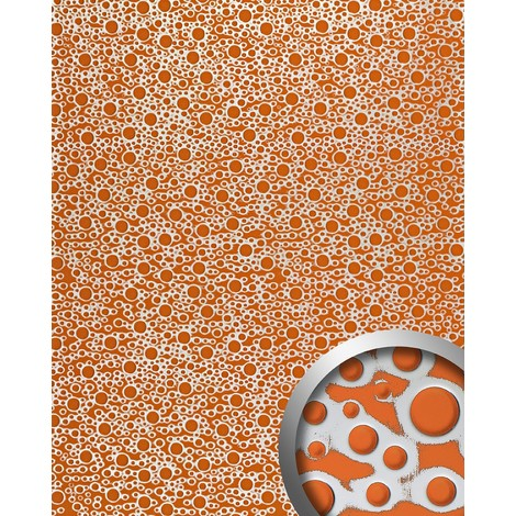Panel decorativo autoadhesivo de diseño burbujas con relieve 3D WallFace 11713 BUBBLE color naranja plata 2,60 m2