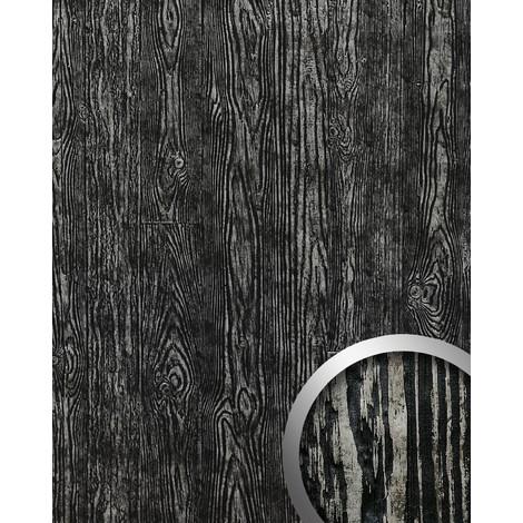 Panel decorativo autoadhesivo de diseño madera con relieve 3D WallFace 14806 WOOD Color negro plata vintage 2,60 m2