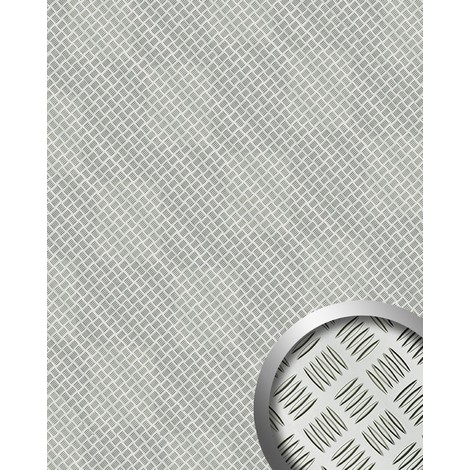 Panel decorativo autoadhesivo de diseño WallFace 11308 ALU STEP chapa estriada color plata metalic mate 2,60 m2