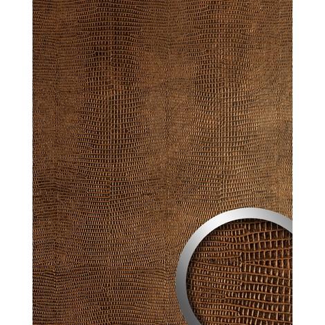 Panel decorativo autoadhesivo de lujo WallFace 12894 LEGUAN Diseño piel de iguana con relieve 3D marrón cobre 2,60 m2