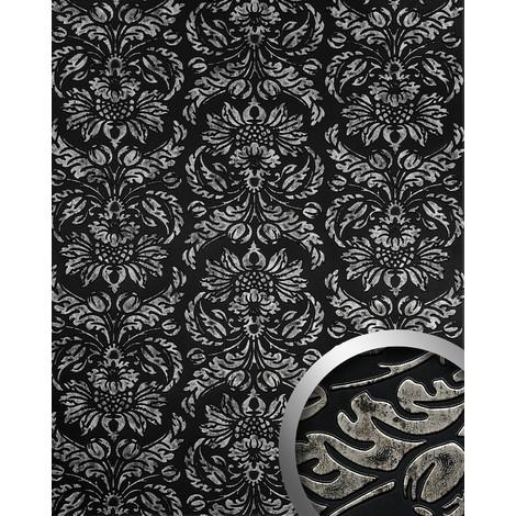 Panel decorativo autoadhesivo diseño barroco WallFace 14800 IMPERIAL damasco relieve 3D negro plata vintage 2,60 m2