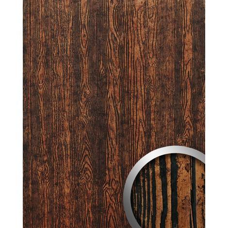 Panel decorativo autoadhesivo diseño madera con relieve 3D WallFace 14807 WOOD Color marrón cobre negro 2,60 m2