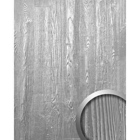 Panel decorativo autoadhesivo diseño madera con relieve 3D WallFace 14808 WOOD Color plata mate y brillante 2,60 m2