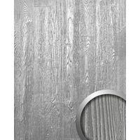 Panel decorativo autoadhesivo diseño madera con relieve 3D WallFace 14808 WOOD Color plata mate y brillante 2,60 m2