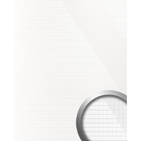 Panel decorativo autoadhesivo flexible mosaico cuadrado S WallFace 13476 M-Style brillante color blanco 0,96 m2