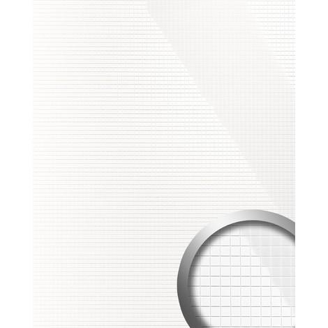 Panel decorativo autoadhesivo flexible mosaico cuadrado S WallFace 13476 M-Style brillante color blanco 0,96 m2