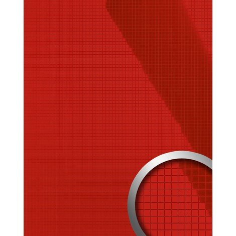 Panel decorativo autoadhesivo flexible mosaico cuadrado S WallFace 13763 M-Style Brillante color rojo vivo 0,96 m2