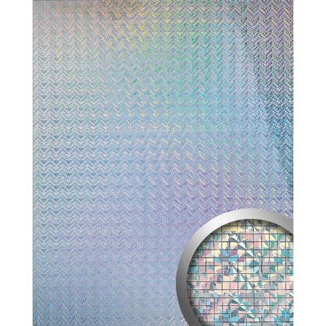 Panel decorativo autoadhesivo flexible mosaico cuadrado WallFace 10575 M-Style S brillante plata galaxy 0,96 m2
