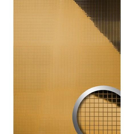 Panel decorativo autoadhesivo flexible mosaico cuadrado WallFace 10598 M-Style S con efecto espejo dorado 0,96 m2