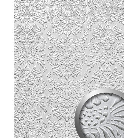 Panel decorativo autoadhesivo polipiel diseño barroco WallFace 14794 IMPERIAL Damasco relieve 3D blanco plata 2,60 m2