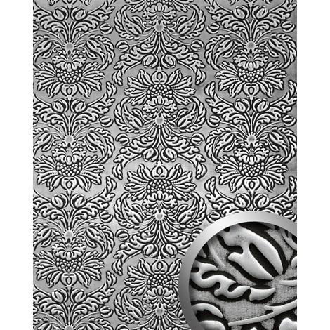 Panel decorativo autoadhesivo polipiel diseño barroco WallFace 14795 IMPERIAL Damasco relieve 3D negro plata 2,60 m2