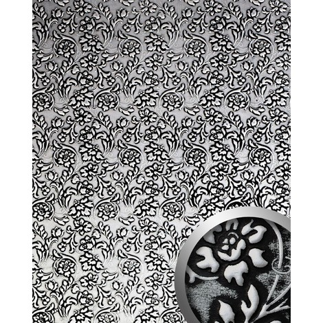Panel decorativo autoadhesivo polipiel diseño flores WallFace 13412 FLORAL Barrocas relieve 3D negro y plata 2,60 m2